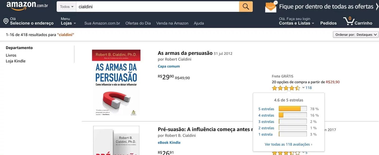Tela da Amazon.com.br com reviews de clientes