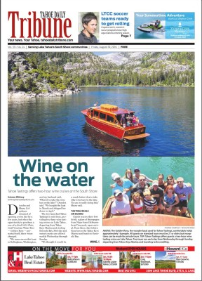 Tahoe Tastings Front Page Article Tahoe Daily Tribune
