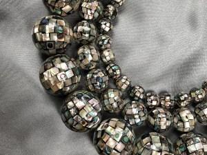 16'' Mosaic Round Abalone Bead Strand - Per String