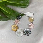 Graduated Carved MOP Floral Bead With Freshwater Pearl Bracelet