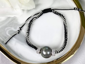 Black Tahitian Pearl Adjustable Bracelet