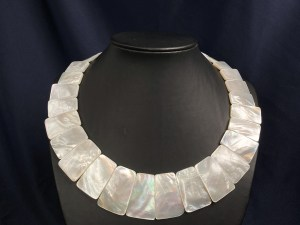 Graduated Trapezoid Beads White MOP Necklace
