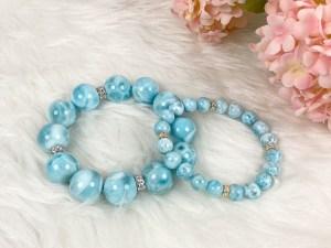 Larimar Gemstone Silver Stretch Bracelet