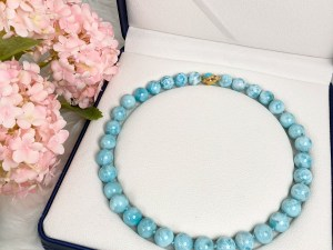Larimar Necklace with Turquoise Gold Plated Vermeil Sterling Silver Clasp