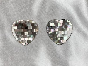 Mosaic Heart Black MOP Cabochon - Per Pair
