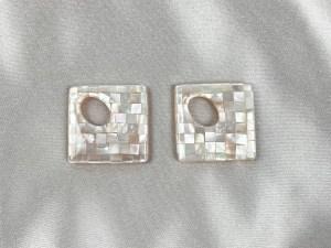 Mosaic Square White MOP Loose Piece - Per Pair