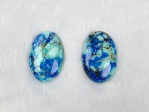 Oval Azurite Turquoise Cabochon - Per Piece