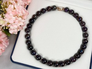 Sugilite Necklace with Rose Gold Plated Vermeil Sterling Silver Clasp
