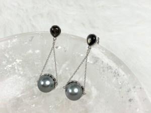 Tahitian Black Pearl Dangle Cone Silver Earrings with Black MOP