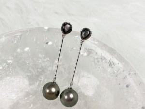 Tahitian Black Pearl Long Dangle Earrings with Sterling Silver