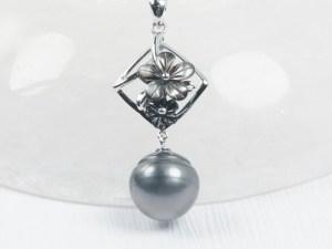 Tahitian Black Pearl Sterling Silver Pendant With Black MOP Flowers