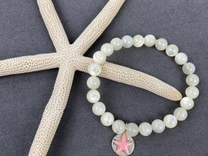 White MOP Beaded Stretch Bracelet with Queen Conch Starfish Silver Charm