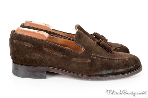 CHARLES TYRWHITT Brown Solid Suede Leather Tassel Loafer ...