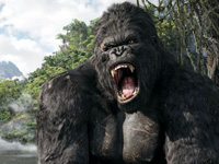 The giant gorilla roars in 'King Kong'