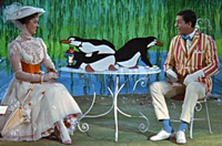 Julie Andrews and Dick Van Dyke mix it up with animated penguins in 'Mary Poppins'