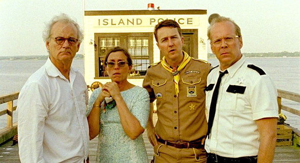 Bill Murray, Frances McDormand, Edward Norton, and Bruce Willis in 'Moonrise Kingdom'