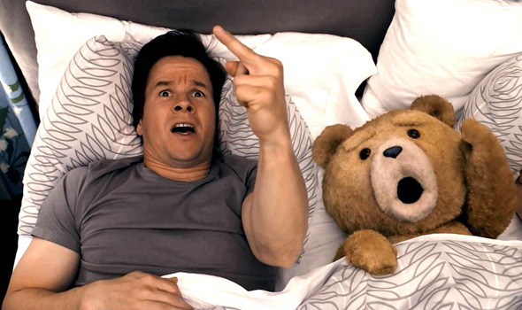 Mark Wahlberg stars with a computer-animated stuffed bear in 'Ted'