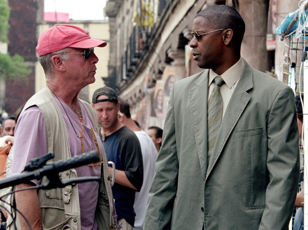 Tony Scott with Denzel Washington on set of 'Man on Fire'