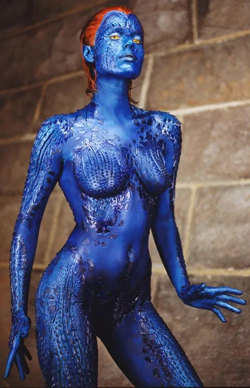 The sexy Rebecca Romijn-Stamos is back in blue (and 'nude') as Mystique in 'X2: X-Men United'
