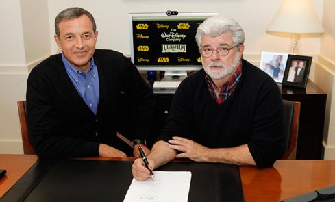 George Lucas with Disney's CEO, Rob Iger