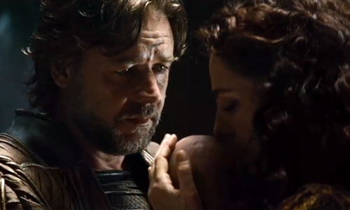 Russell Crowe as Jor-El and Ayelet Zurer as Lara Lor-Van in 'Man of Steel'