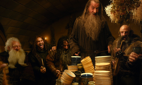 From left to right: Ken Stott as Balin, Aidan Turner as Kili, William Kircher as Bifur, Ian McKellen as Gandalf, Graham McTavish as Dwalin, Mark Hadlow as Dori in 'The Hobbit: An Unexpected Journey'
