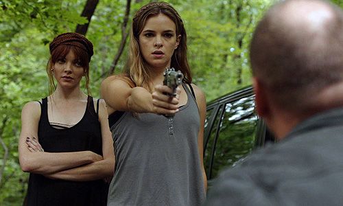 Nicole LaLiberte (left) and Danielle Panabaker are out for revenge in 'Girls Against Boys'
