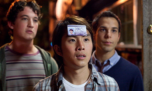 From Left to Right: Miles Teller, Justin Chon and Skylar Astin in '21 and Over'