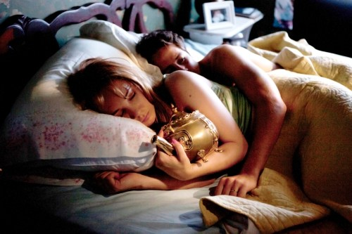 Juno Temple and Michael Angaro sleeping with 'The Brass Teapot'