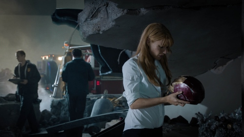 """""""Pepper Potts"""" (Gwynneth Paltrow) stares at the mask of the missing Iron Man in 'Iron Man 3'"""
