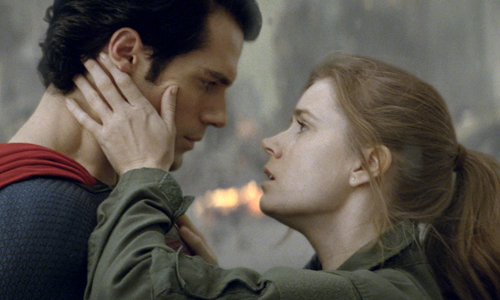 Superman (Henry Cavill) and Lois Land (Amy Adams) share a moment in 'Man of Steel'