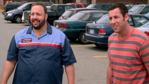 Kevin James and Adam Sandler in a parking lot in 'Grown Ups 2'