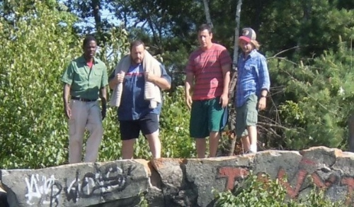 Chris Rock, Kevin James, Adam Sandler and David Spade about to jump off a cliff in 'Grown Ups 2'