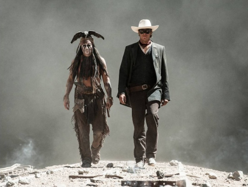 Armie Hammer and Johnny Depp walking in a scene from 'The Lone Ranger'