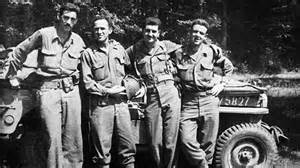 J. D. Salinger and three close friends from their shared military service during WWII