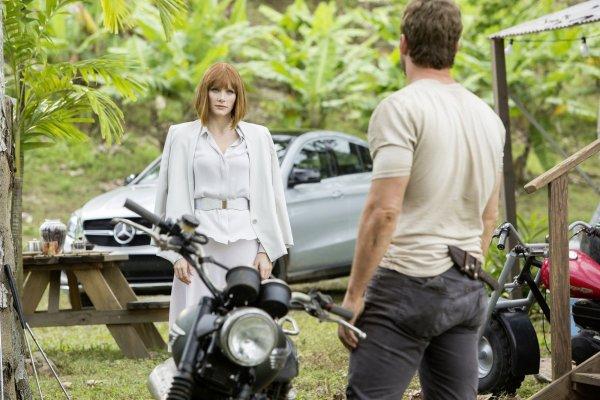 Bryce Dallas Howard and Chris Pratt in 'Jurassic World