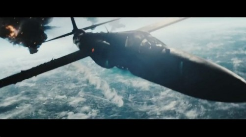 Austin Stowell as Gary Francis Powers flying his U-2 spy plane as Russian SA-2 missiles are fired at him in 'Bridge of Spies'