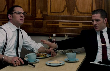 Tom Hardy and Tom Hardy as the Kray twins in 'Legend'.