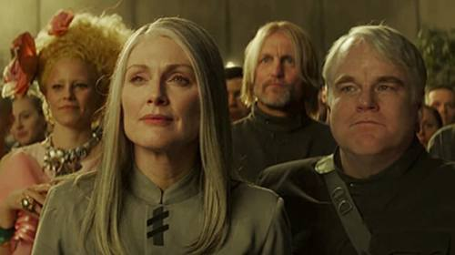 Julianne Moore, Philip Seymour Hoffman, Elizabeth Banks and Woody Harrelson in 'The Hunger Games: Mockingjay - Part 2'