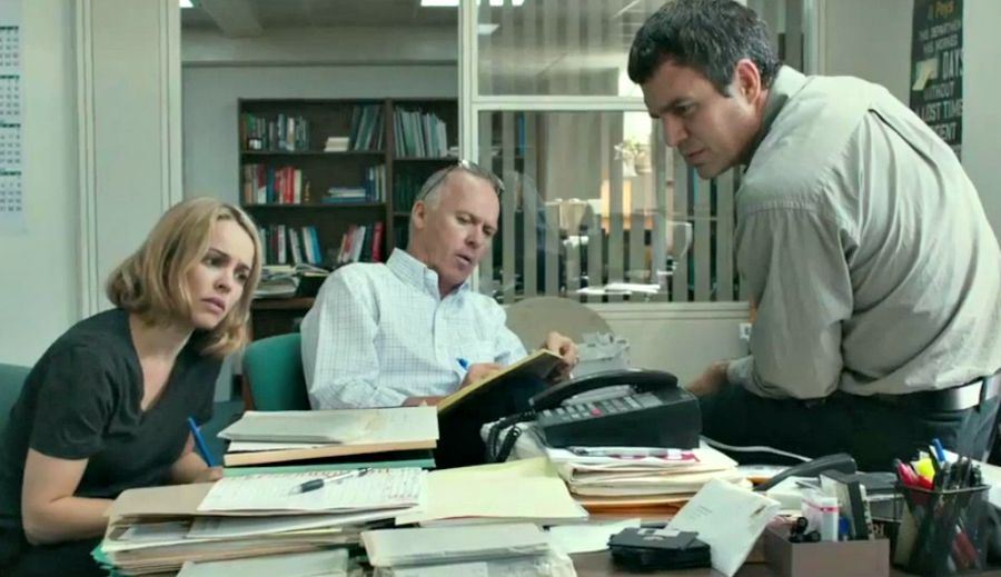 Rachel McAdams, Michael Keaton and Mark Ruffalo in 'Spotlight'.