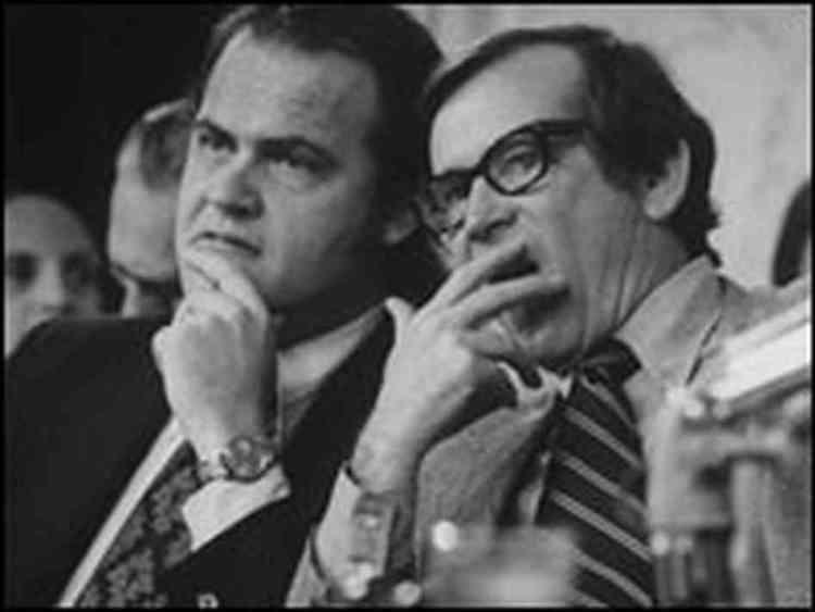 Fred Dalton Thompson and U. S. Senator Howard Baker during the 1973 Watergate Hearings