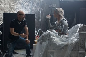 "Director CEDRIC NICOLAS-TROYAN and EMILY BLUNT as the Ice Queen Freya on the set of ""The Huntsman: Winter's War,"" the story that came before Snow White. Chris Hemsworth and Oscar® winner Charlize Theron return to their roles from ""Snow White and the Huntsman,"" joined by Blunt and Jessica Chastain."