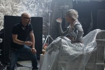 """Director CEDRIC NICOLAS-TROYAN and EMILY BLUNT as the Ice Queen Freya on the set of """"The Huntsman: Winter's War,"""" the story that came before Snow White. Chris Hemsworth and Oscar® winner Charlize Theron return to their roles from """"Snow White and the Huntsman,"""" joined by Blunt and Jessica Chastain."""