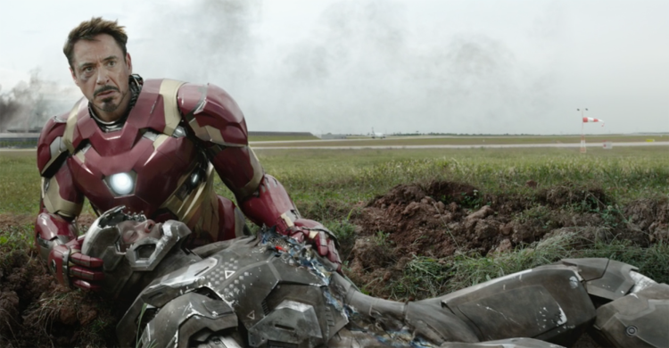 Iron Man (Robert Downey Jr.) tends to War Machine (Don Cheadle) in 'Captain America: Civil War'