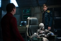 Left to right: Simon Pegg plays Scotty, Sofia Boutella plays Jaylah and Chris Pine plays Kirk in 'Star Trek Beyond'