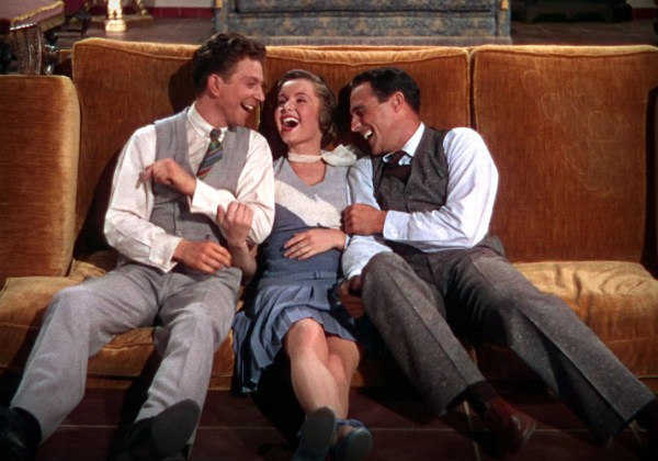 Debbie Reynolds with Gene Kelly (right) and Donald O'Connor in 'Singin' in the Rain'