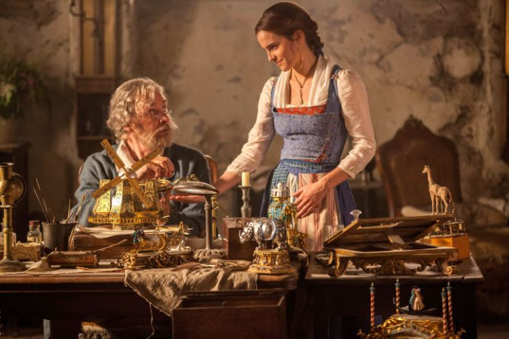 Belle (Emma Watson) with her father (Kevin Kline) in 'Beauty and the Beast'