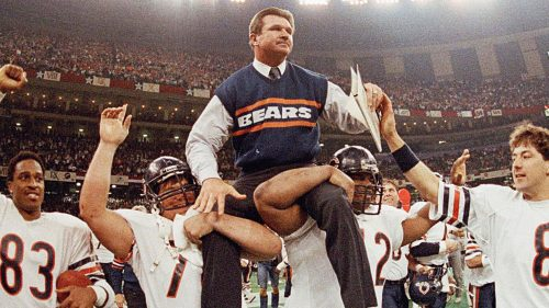 The 1985 Bears celebrate their victory in Super Bowl XX