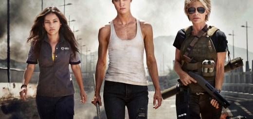 "Meet the women of the new TERMINATOR movie: (from left to right) Natalia Reyes as ""Dani Ramos,"" Mackenzie Davis as ""Grace,"" Linda Hamilton as ""Sarah Connor"""
