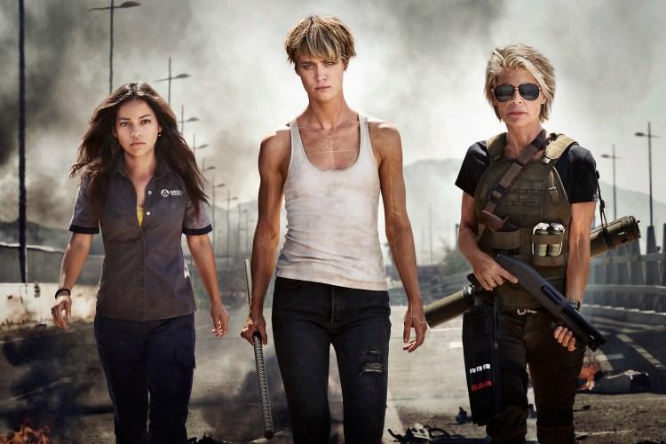 "Meet the women of the new TERMINATOR movie: (from left to right) Natalia Reyes as ""Dani Ramos,"" Mackenzie Davis as ""Grace,"" Linda Hamilton as ""Sarah Connor"""